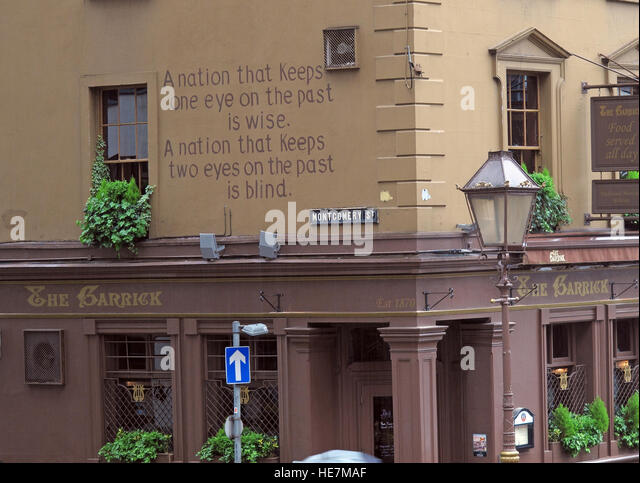 The Garrick bar,A Nation That keeps an eye on the past is wise.. Montgomery St,Belfast,Northern Ireland,UK - Stock Image