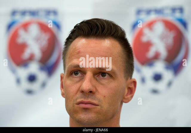 Secretary General of the FACR Rudolf Repka attends the press conference within the Football Association of the Czech - Stock-Bilder