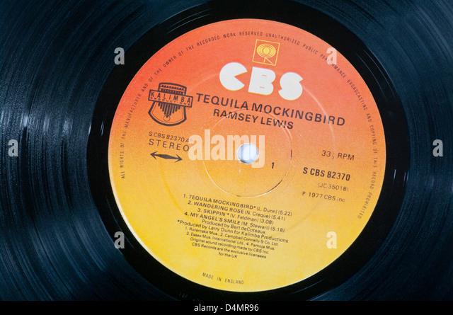 CBS Record Label On A Vinyl LP Record - Stock Image