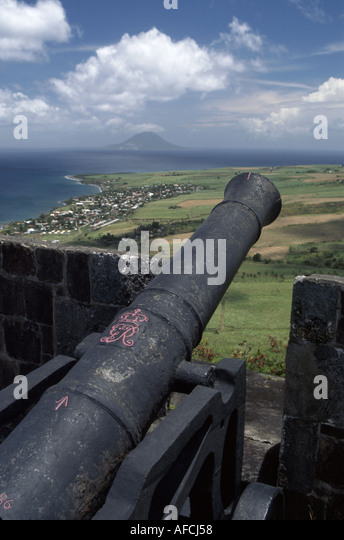 West Indies St. Kitts Brimstone Hill Fort George Citadel 790 feet above sea level strategic cannon Caribbean Sea - Stock Image