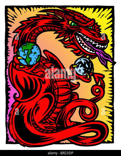 A drawing of a dragon holding planets - Stock Image