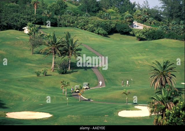 Bermuda Golf Course Fairmont Southampton Palm Trees Golf Cart Players - Stock Image