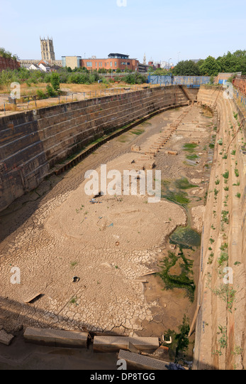 Empty Dry Dock Kingston upon Hull East Yorkshire England - Stock Image