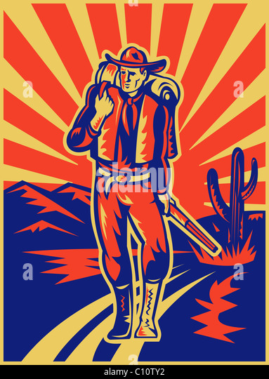 retro style illustration of a Cowboy carrying backpack and rifle walking with desert mountains and cactus in background - Stock Image