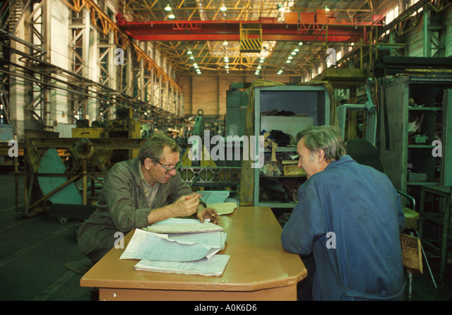 Russia former Soviet Union Moscow privatized machine tool factory scheduling supervisors - Stock Image