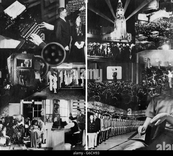 1920s 1930s MONTAGE OF MOTION PICTURE INDUSTRY FROM CONCEPT TO PRODUCTION TO PREMIERE TO DISTRIBUTION - Stock-Bilder