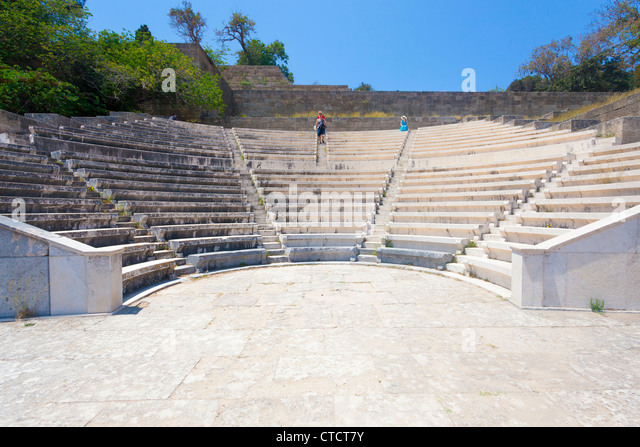 The restored Odeon at the Acropolis of Rhodes, Monte Smith Rhodes Greece - Stock Image