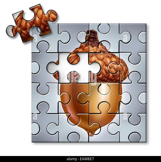 Investing puzzle concept as an acorn with a missing piece as a financial metaphor for savings and tax and wealth - Stock-Bilder