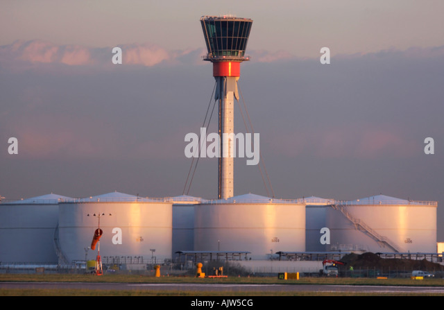 New air traffic control tower at Heathrow Airport London UK - Stock Image