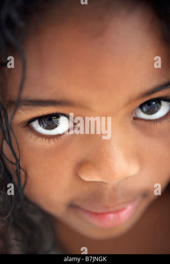 Portrait Of Shy Young Girl - Stock Image