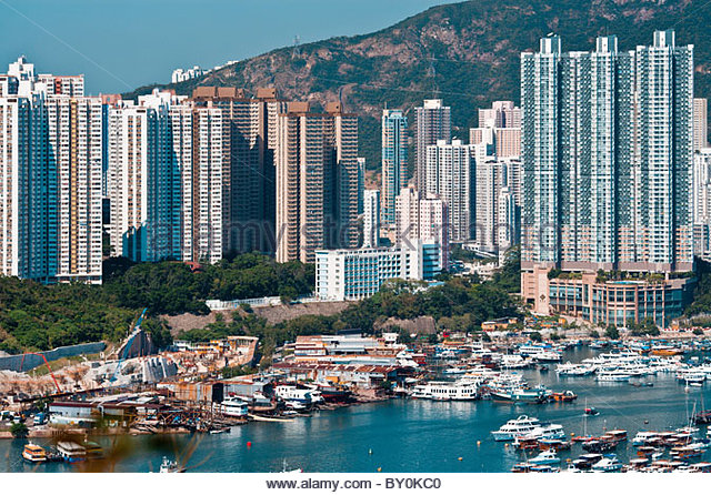 The south side of Hong Kong Island in the Aberdeen Area, Hong Kong, China - Stock Image