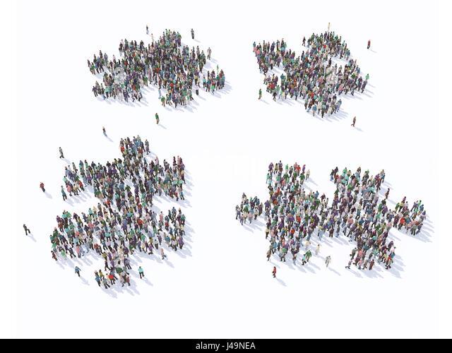 Large group of people forming a puzzle symbols - 3D illustration - Stock-Bilder
