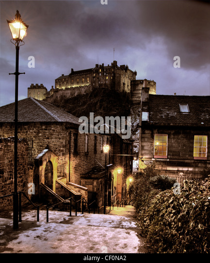 The Vennel in winter, snow and ice at dusk, Edinburgh, Lothian, Scotland, UK @HotpixUK - Stock Image