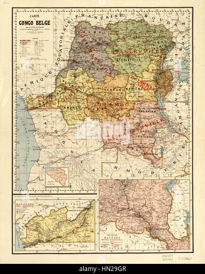 Map of the Belgian Congo WDL59 - Stock-Bilder