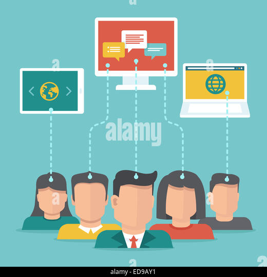 User generated content concept in flat style - users uploading digital content - Stock-Bilder