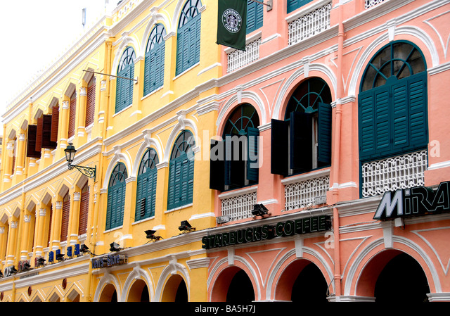 Buildings, civic center, Macau, China - Stock Image