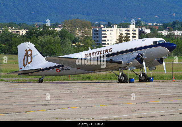 Genf/Switzerland August 5, 2015: One of the oldest planes Douglas DC-3 Dakota from Breitling taxing to take off - Stock Image