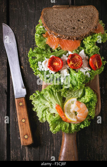 Sandwich with seafood - Stock Image
