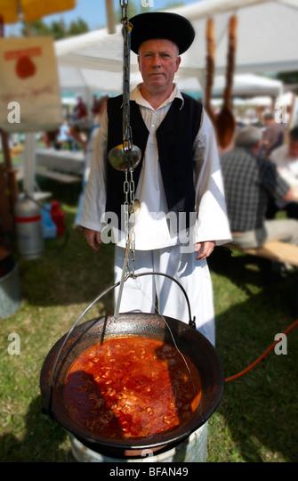 Birkaporkolt ( mutton porkolt). Paprika food festival. Hungary - Stock Image