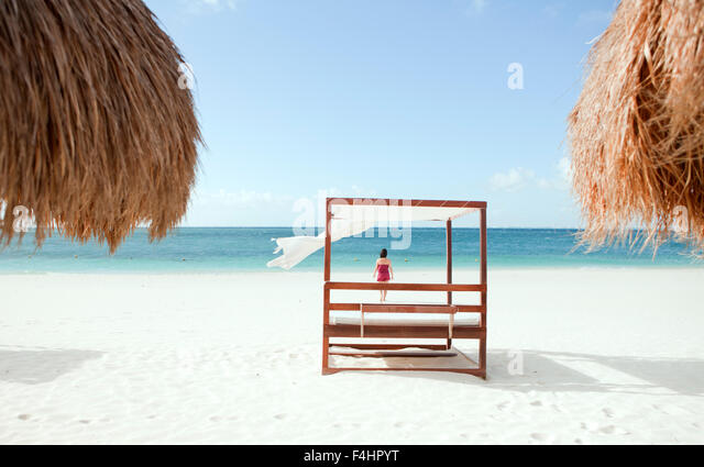 The main beach on Isla Mujeres, an island off Cancun, Quintana Roo, Mexico. - Stock Image