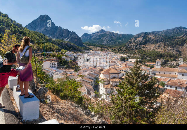 Panoramic view over the white town of Grazalema, Andalusia, Spain - Stock Image