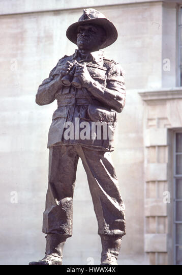 Statue of Field Marshall Vincent Slim in London - Stock Image
