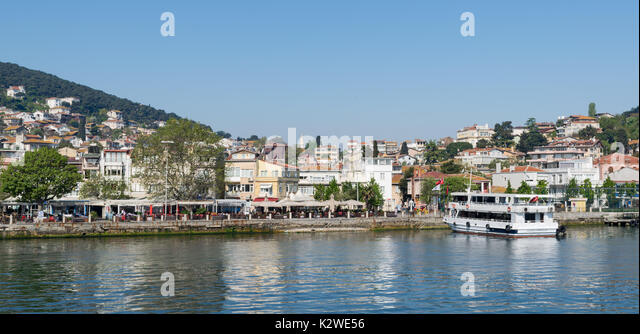 Istanbul, Turkey - April 27, 2017: View of Heybeliada island from the sea with summer houses. the island is the - Stock Image