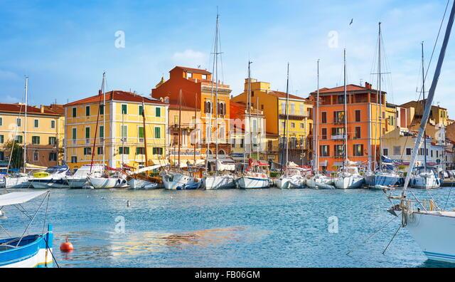 La Maddalena harbor,  La Maddalena Island, Sardinia, Italy - Stock Image