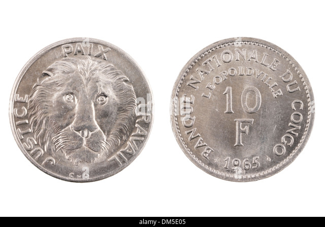 A coin from the Belgian Congo isolated on white - Stock-Bilder