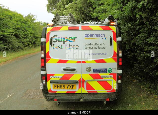 Open Reach, BT vehicle, maintenance van, British Telecom, Super Fast Fibre Broadband, Norfolk, England, UK - Stock Image