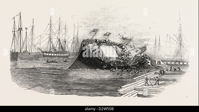 CATASTROPHE AT A SHIP-LAUNCH AT HULL 1854 - Stock Image