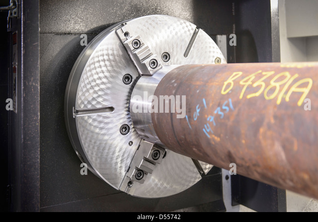 Close up of industrial lathe - Stock Image