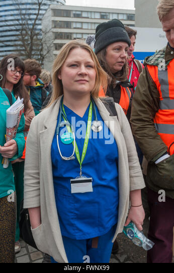 London, UK. 6th April, 2016. Supporters, including Sisters Uncut, trade unionists, students, student nurses, medical - Stock Image