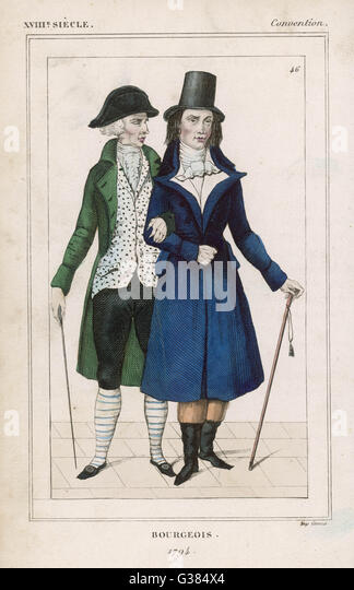 French Bourgeois costume.          Date: 1794 - Stock Image