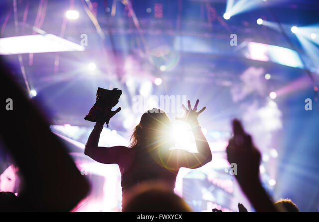 Finland, Uusimaa, Helsinki, Cheering young woman at Summer Sound Festival - Stock-Bilder
