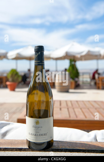 Botlle of Anatolian wine served by the oldest Turkish winery at its terrace restaurant on the winery's premises - Stock Image