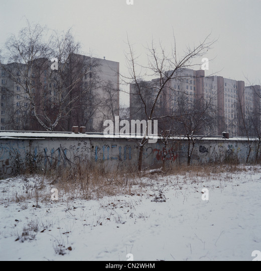 Block of flats, Warsaw, Poland - Stock Image
