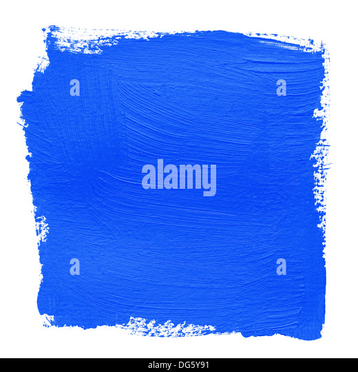 hand painted background with bright blue acrylic paint - Stock Image