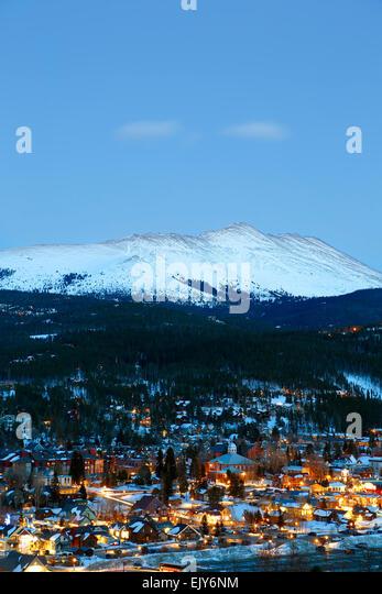 Snow-covered Bald Mountain and Breckenridge, Colorado USA - Stock Image