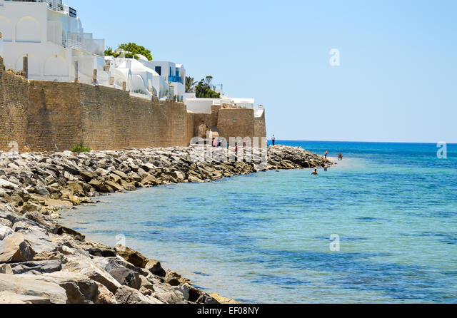 Coast line of Hammamet in Tunisia - Stock Image