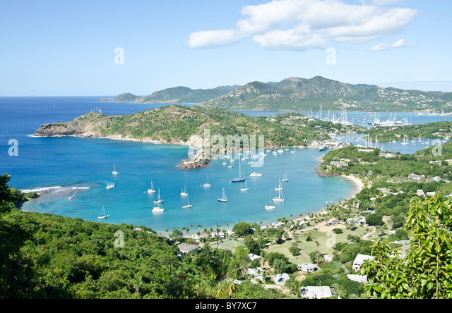 Looking down on English Harbour and Nelsons Dockyard from Shirley Heights Antigua - Stock Image