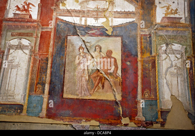 Fresco in the College of the Augustans´ depicting the myth of Hercules, ruins of the old Roman city of Herculaneum. - Stock Image