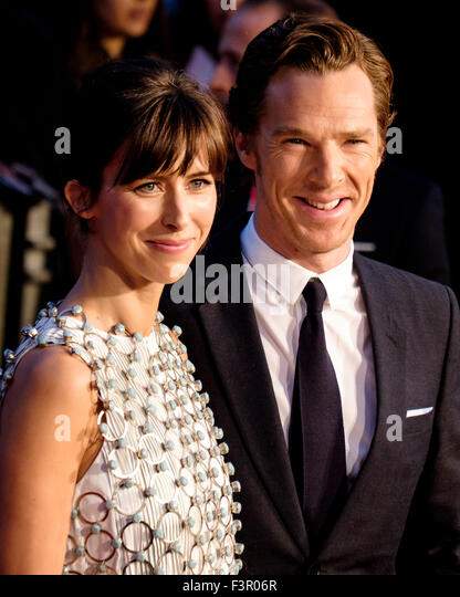 Benedict Cumberbatch with Sophie Hunter arrives on the red carpet for the London Film Festival screening of Black - Stock Image