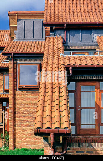 Pantile roof detail at Chaucer College in Canterbury - Stock Image