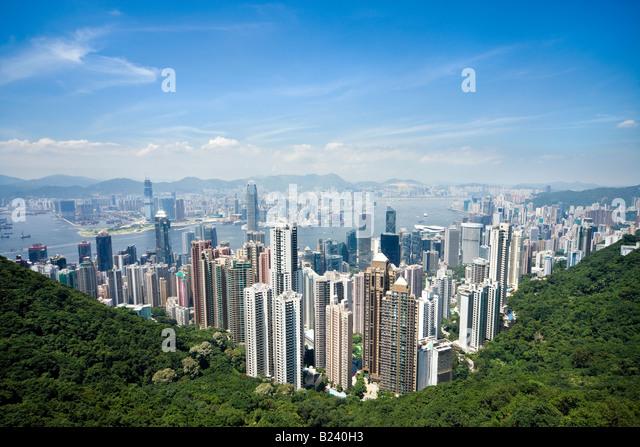 Hong Kong skyline. Panoramic view of Hong Kong and Kowloon from Victoria Peak Tower. Hong Kong, China, SAR, on a - Stock Image