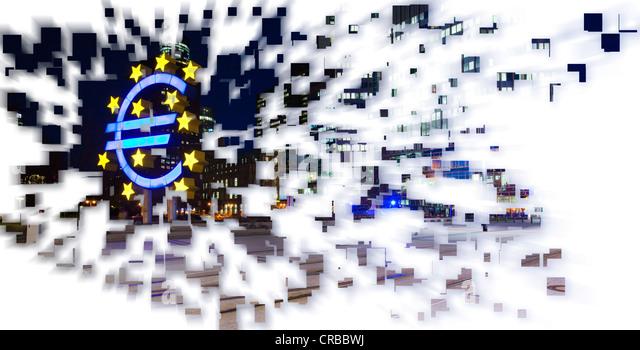 Exploding euro symbol, symbolic image for a crash of the euro - Stock Image