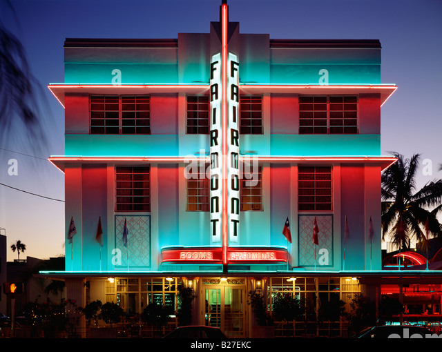 FAIRMOUNT HOTEL AT DUSK, RENOVATED ART DECO BUILDING, MIAMI BEACH, FLORIDA, USA - Stock Image
