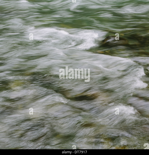 Detail of flowing river water, Dosewallips River, Olympic NP, WA - Stock Image