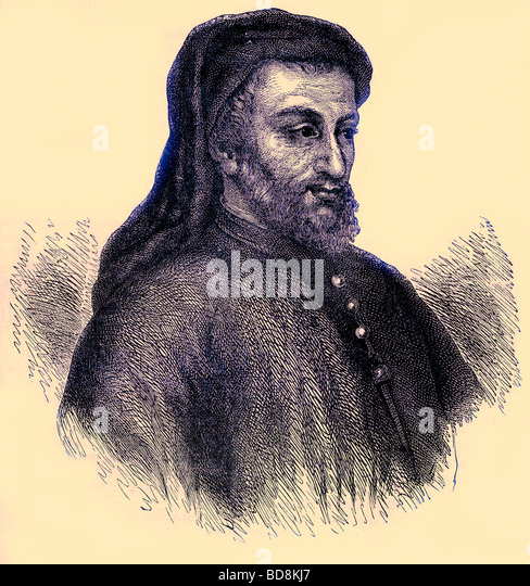 Geoffrey Chaucer Illustration from Old and New London by Edward Walford Cassell c 1880 - Stock Image