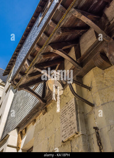Original site of hoist used to lift Joan of Arc from her horse, Chinon, France. - Stock Image